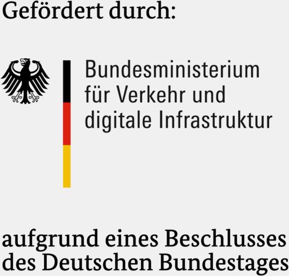 """Logo """"Gefördert durch: Bundesministerium für Verkehr und digitale Infrastruktur"""""""